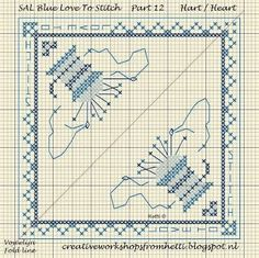 Part 12 SAL Delft Blue Love To Stitch Heart Pincushion
