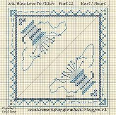 Part 12 SAL Delft Blue Love To Stitch Heart Pincushion