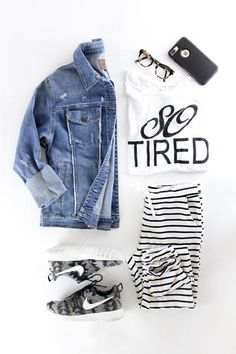 Breakout Loungers. Comfy casual outfit perfect for Spring. Mom style. So tired t shirt. Pendelton Nikes. Joe's Jeans denim jacket. therollinj.com