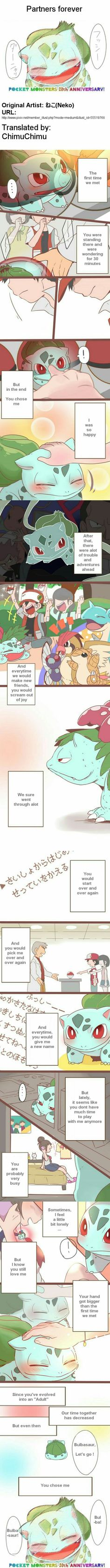Partners Forever, Bulbasaur, cute, text, comic, sad, Trainer, Pokeball, Red, Professor Oak; Pokémon