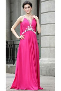 Hot A-line Straps Floor-Length Beading Evening/Party Dress