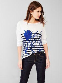 Floral stripe tunic