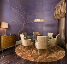 Asian Tree Wall Murals and Purple Dining Room Theme in Small Modern Apartment Decorating Design Ideas