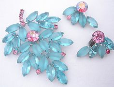 DeLizza & Elster Brooch & Earrings - book piece