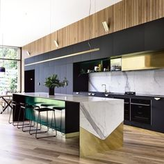 'Minimal Interior Design Inspiration' is a weekly showcase of some of the most perfectly minimal interior design examples that we've found around the web - all Black Kitchen Cabinets, Black Kitchens, Kitchen Countertops, Home Kitchens, Home Decor Kitchen, Interior Design Kitchen, Kitchen Furniture, Kitchen Dining, Kitchen Island