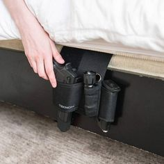 Adjustable Under the Mattress Bedside Pistol Holster Car Seat Gun Holster with Flashlight and Magazine Holder Tactical Handgun Holster Home Security Camera Systems, Security Cameras For Home, Hidden Gun, Pistol Holster, Gun Storage, Home Protection, Molon Labe, Magazine Holders, Tactical Gear