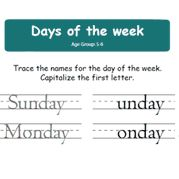 Days of the week - #English worksheet for kids. For more #EnglishWorksheets and #Activities for #kids, visit: http://mocomi.com/learn/english/worksheets/