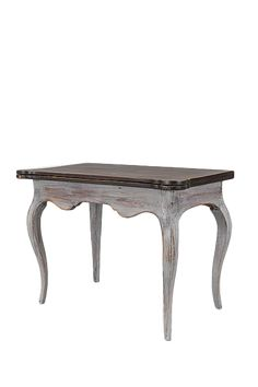 WHITE PAINTED TABLE WITH BLACK STONE TOP Scania Sweden mid 19th