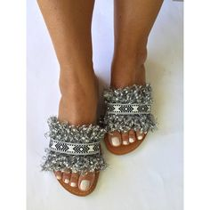 0 Boho Sandals, Strappy Sandals, Slide Sandals, Leather Sandals, Black And White Ribbon, Jeweled Shoes, Summer Looks, Casual Chic, Wedding Shoes