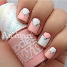pink, white and silver triangle nails