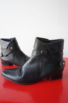 BotTines Boots France ARNO Cuir LEATHER Taille 37 Comme NEuf nEw NOIR