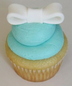 Tiffany blue cupcake with Bow   Flickr - Photo Sharing!