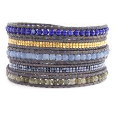Chan Luu Blue Mix Silver Multi Wrap Bracelet Leather Lapis Labradorite BS3649 | eBay