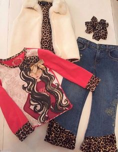 BRAND NAME (LOT of 4 ) VEST, JEANS, SHIRT, HAIR  ACCESSORY Size 4 / 4T  OUTFIT #ChildrensPlace #DressyEverydayHoliday