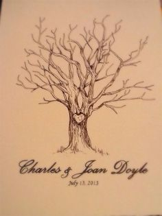 SALE 11x14 hand drawn fingerprint family guest trees wedding nursery baby shower engagement party tree trunk carved heart initials custom on Etsy, $24.97