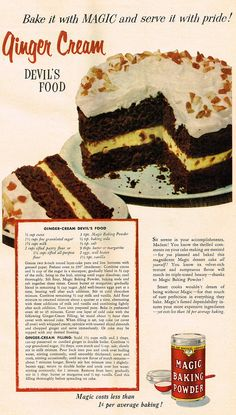 Ginger Cream Devil's Food | Source: Chatelaine, March 1956