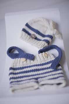 PROPS | Stephanie Resch Photography  Cream & Navy blue hand knit 2/3 pants with attached suspenders & matching cap: Newborn - 3 months Photography Props, Suspenders, 3 Months, Hand Knitting, Winter Hats, Baby, Navy Blue, Beanie, Cream