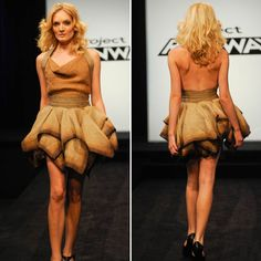 Project Runway burlap sack dress. I love the bottom of this dress!