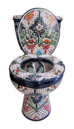 """Mexican Talavera Toilet Set Bathroom Handcrafted """"San Miguel"""" Talavera table and chairs. Urinal Art, Soap Dish For Shower, Toilet Tank Cover, Toilet Art, Bidet, Talavera Pottery, Mexican Art, Oeuvre D'art, Cool Stuff"""