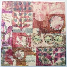 """10x10"""" abstract collages with Gelli printed fabric by Jane Lafazio!   July Newsletter from Jane LaFazio"""