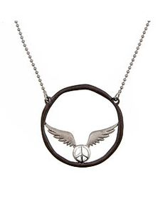 Agrigento Flying Peace Sign Circle Pendant Necklace   Price: $150.00