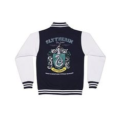 Ladies Navy Harry Potter Slytherin Team Quidditch Varsity Jacket ($62) ❤ liked on Polyvore featuring outerwear, jackets, teddy jacket, navy jacket, navy blue varsity jacket, varsity bomber jacket and letterman jackets