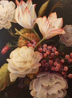 """Winter Floral Painting by artist Marsha Bowers/Zulim Bowers Designs. 36""""x48"""", oil on canvas"""