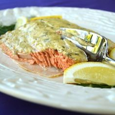 Baked Salmon with Dijon and capers - so many of my favorite things in one dish!