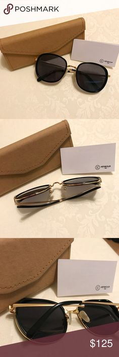 Kinsole Sunglasses Selling a pair of sunglasses by Kinsole, a designer brand from Hong Kong. Purchased in Taiwan when on vacation and worn only once! Brand new condition, no scratches or flaws! Black lenses with gold detail. Beautiful and classy pair of sunglasses, bought on a whim but realized it doesn't look that great on my face shape. kinsole Accessories Sunglasses