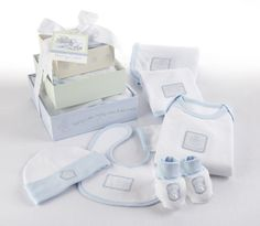 Baby Aspen Patty Cake 6-Piece Layette Set with Gift Box Tower, 0-6 Months, Blue