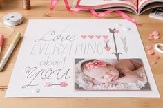 I Love Everything About You Scrapbook Page Layout made with Cricut Black Variety Pen Set. Make It Now with the Cricut Explore machine in Cricut Design Space.