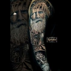 Tattoo competition page for Best Arm Sleeve Tattoos Large Tattoos, Cool Tattoos, Old Men With Tattoos, Historical Tattoos, Worlds Best Tattoos, Arm Sleeve Tattoos, Realism Tattoo, Tattoo Artists, Tatoo