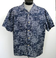 Polo Jeans Co Ralph Lauren Hawaiian Shirt L Blue Denim Look Floral Collar Loop  #PoloJeansCo #Hawaiian