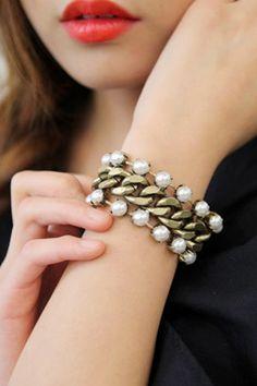 bracelet - http://zzkko.com/n238103-oney-acridine-sent-straight-chain-Korea-purchasing-genuine-pearl-inlay-bracelet-Stylenanda-autumn.html $31.66
