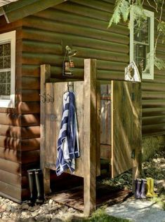 traditional exterior by michelle fries bede design llc love the idea of an outdoor shower at a lake house