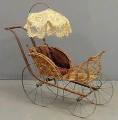 victorian baby carriage | Victorian wicker and metal baby/doll carriage with crocheted parasol ...