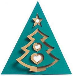 3d christmas tree card  . Trace half of a Christmas tree like shown and use X-acto knife. Fold it over for the dimensional effect.