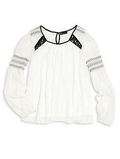 Ella Moss Girl Girl's Smocked Lace Inset Top