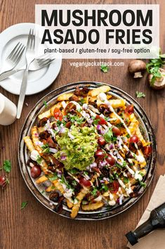 These Mushroom Asado Fries are an incredible plant-based twist on a taqueria favorite. Savory mushroom asado with plenty of toppings, you can enjoy this as a shared appetizer, or as an entree!