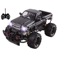 Big Wheel Beast RC Monster Truck Remote Control Doors Opening Car Light Up With LED Headlights Ready to Run Includes Rechargeable Battery Size Off-Road Pick Up Buggy Toy (Black) Front Wheel Alignment, Off Grid Batteries, Off Road Buggy, Kids Electronics, Rc Trucks, Big Wheel, Led Headlights, Car Lights, Gifts For Boys
