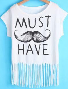 White Short Sleeve Beard Letters Print Tassel T-Shirt EUR€12.13