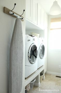 DIY Hanging Ironing Board Rack - This is functional AND pretty! Friday Favorites Roundup - Upcycled Treasures