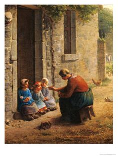 Feeding the Young, 1850  --  Jean-Francois Millet