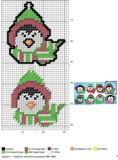 Christmas Tree Ornaments To Make, Penguin Ornaments, Cross Stitch Christmas Ornaments, Christmas Cross, Christmas Holidays, Christmas Goodies, Diy Ornaments, Christmas Things, Plastic Canvas Coasters