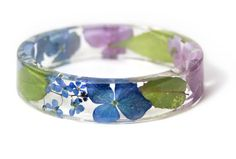 Real Flower Jewelry- Flower Jewelry- Jewelry with Real Flowers- Pink Flowers- Blue Bracelet -Resin Jewelry- Green Bracelet