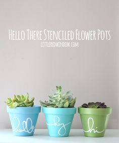 These cheerful and colorful Stenciled Flower Pots are so easy to make!