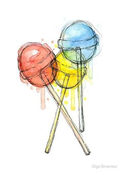 Your place to buy and sell all things handmade Lollipops Watercolor Art Print Candy Sweets Food Illustration Colorful Decor Cool Art Drawings, Art Drawings Sketches, Painting & Drawing, Watercolor Paintings, Watercolor Food, Watercolor Ideas, Watercolor Print, Watercolor Artists, Colorful Paintings