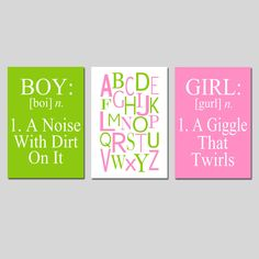 Boy Girl Alphabet Trio Set of Three. I would love to have a boy and a girl someday. :)