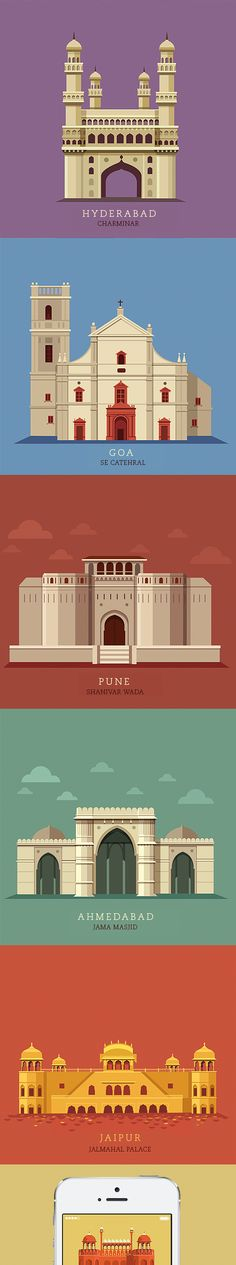 Illustrations of 10 most popular cities in India created for the Times Group for…
