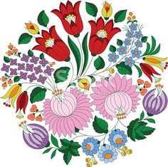 Authentic Hungarian embroidery folk pattern in circle shape, with tulips and peonies, from the famous Kalocsa region